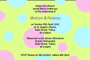 Personalised Twins Christening Invitations Design 2